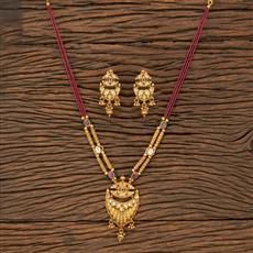 530135 Antique Mala Pendant Set With Matte Gold Plating