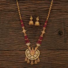 530138 Antique Mala Pendant Set With Matte Gold Plating