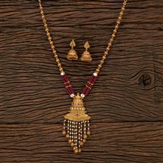 530139 Antique Mala Pendant Set With Matte Gold Plating