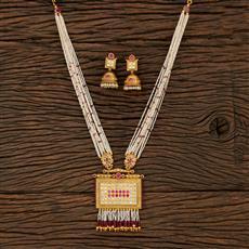 530140 Antique Mala Pendant Set With Matte Gold Plating