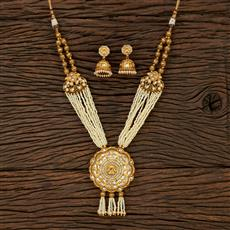 530141 Antique Mala Pendant Set With Matte Gold Plating