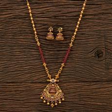 530144 Antique Mala Pendant Set With Matte Gold Plating