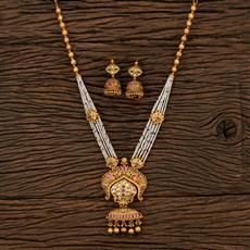 530145 Antique Mala Pendant Set With Matte Gold Plating