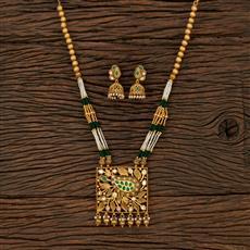 530146 Antique Mala Pendant Set With Matte Gold Plating