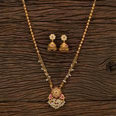 530147 Antique Mala Pendant Set With Matte Gold Plating