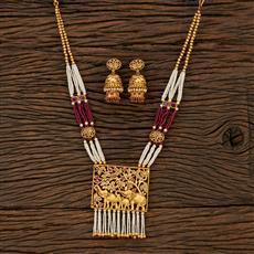 530148 Antique Mala Pendant Set With Matte Gold Plating