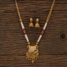 530149 Antique Peacock Pendant Set With Matte Gold Plating