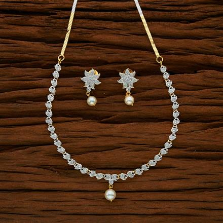 53018 CZ Delicate Necklace with 2 tone plating