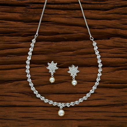53019 CZ Delicate Necklace with rhodium plating