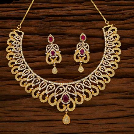 53025 CZ Classic Necklace with gold plating
