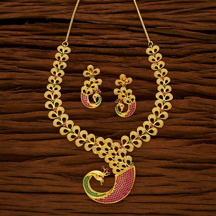 53029 CZ Peacock Necklace with gold plating