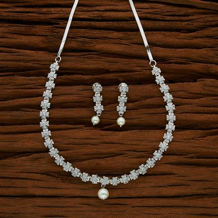 53032 CZ Delicate Necklace with rhodium plating