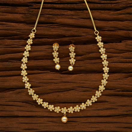 53037 CZ Delicate Necklace with gold plating