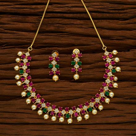 53042 CZ Classic Necklace with gold plating