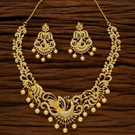 53053 CZ Peacock Necklace with gold plating