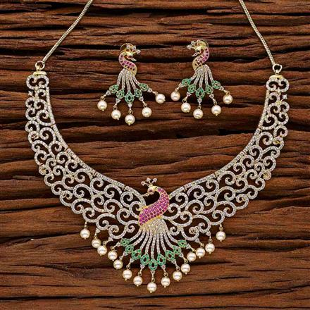 53054 CZ Peacock Necklace with gold plating
