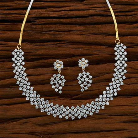 53056 CZ Classic Necklace with 2 tone plating