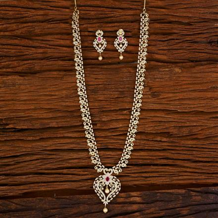 53059 CZ Long Necklace with gold plating