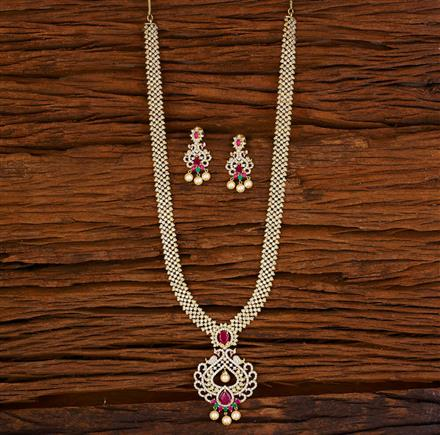 53062 CZ Long Necklace with gold plating
