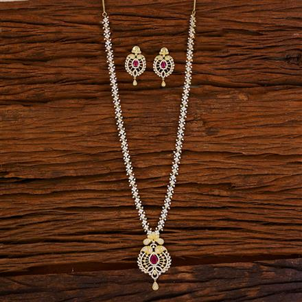 53063 CZ Long Necklace with gold plating