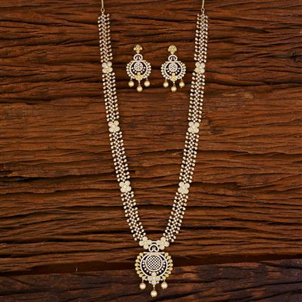 53064 CZ Long Necklace with gold plating