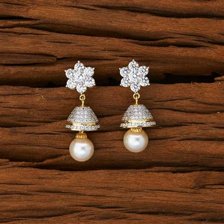 53092 American Diamond Jhumki with 2 tone plating