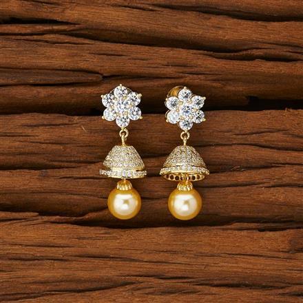 53093 American Diamond Jhumki with gold plating