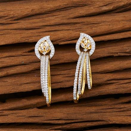 53094 CZ Short Earring with 2 tone plating