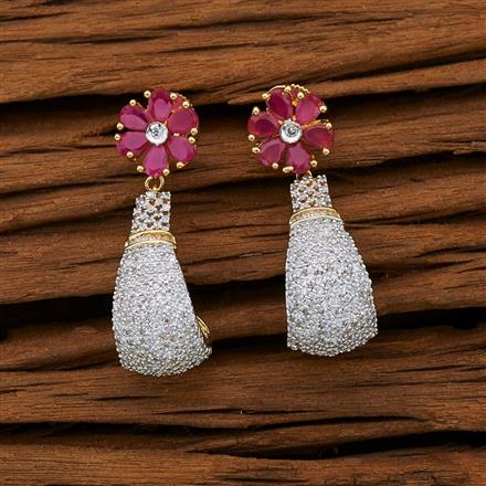 53096 CZ Short Earring with 2 tone plating