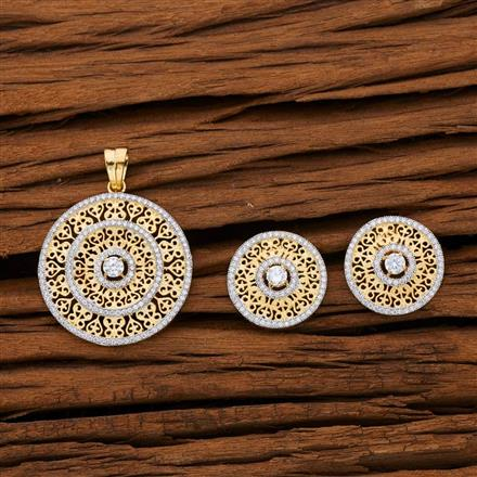 53119 CZ Classic Pendant Set with 2 tone plating