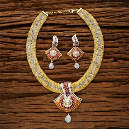 53136 CZ Classic Necklace with 2 tone plating