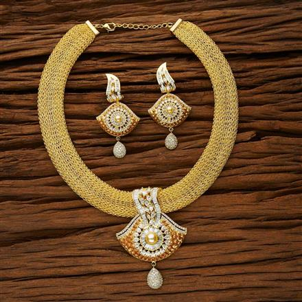 53137 CZ Classic Necklace with gold plating