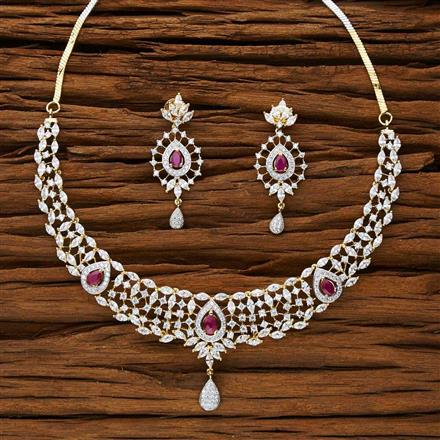 53190 CZ Classic Necklace with 2 tone plating