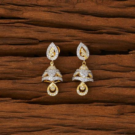 53218 American Diamond Jhumki with 2 tone plating