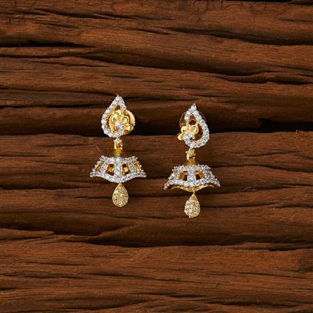 53221 American Diamond Jhumki with 2 tone plating