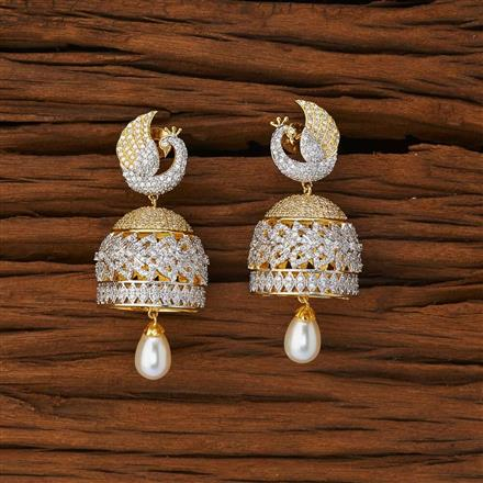 53222 CZ Peacock Earring with 2 tone plating