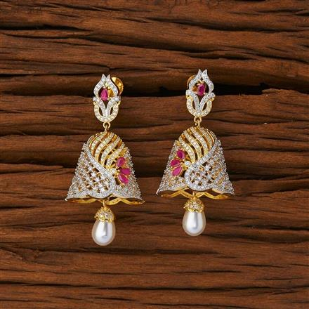53223 American Diamond Jhumki with 2 tone plating