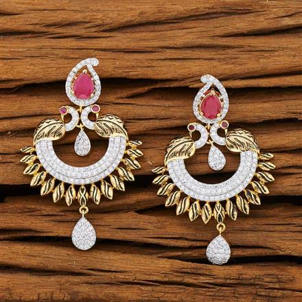 53232 CZ Peacock Earring with 2 tone plating