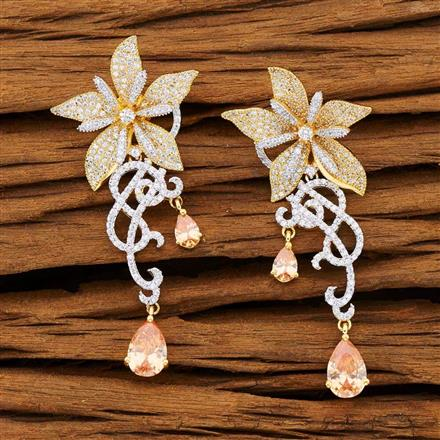 53234 CZ Classic Earring with 2 tone plating
