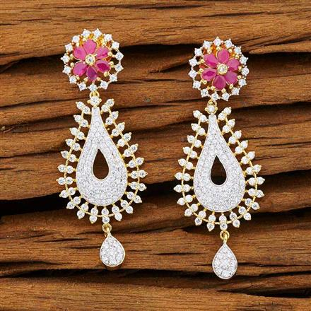 53236 CZ Delicate Earring with 2 tone plating
