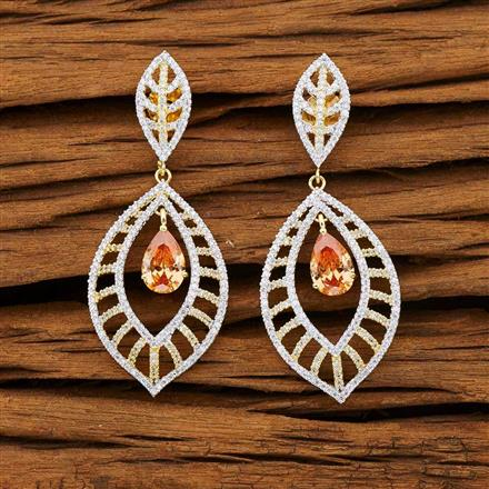53237 CZ Classic Earring with 2 tone plating