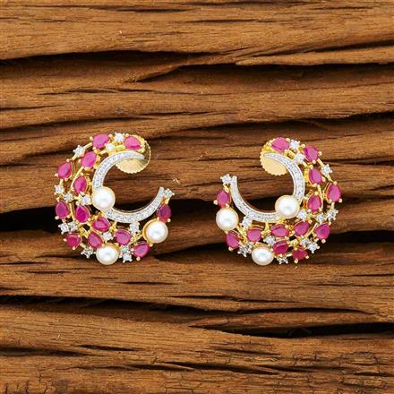 53241 CZ Chand Earring with 2 tone plating