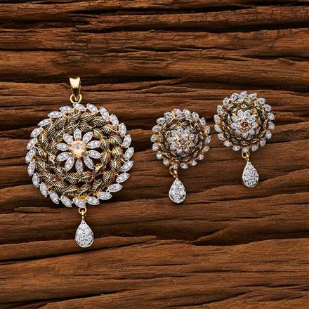 53247 CZ Classic Pendant Set with 2 tone plating