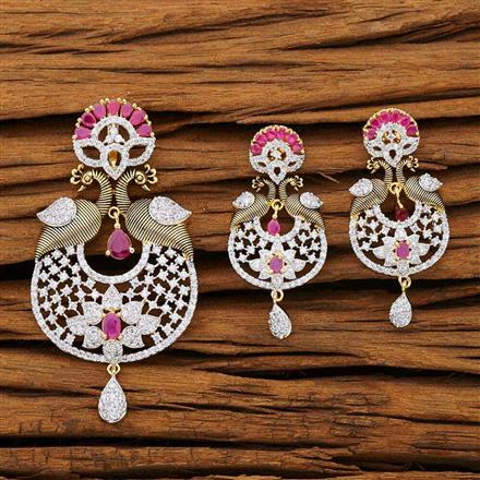 53248 CZ Peacock Pendant Set with 2 tone plating