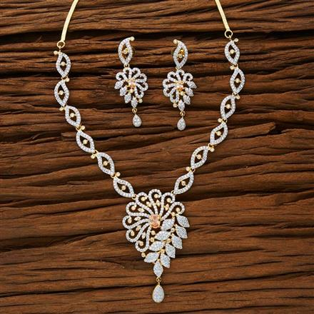 53291 CZ Classic Necklace with 2 tone plating