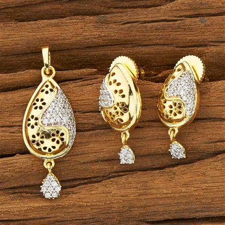 53343 CZ Delicate Pendant Set with 2 tone plating
