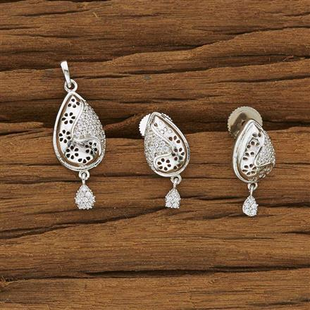 53344 CZ Delicate Pendant Set with rhodium plating
