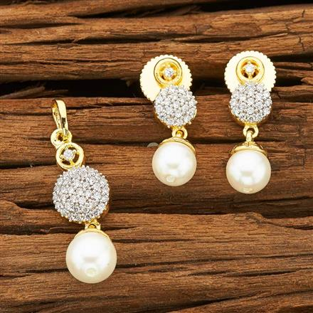 53345 CZ Delicate Pendant Set with 2 tone plating