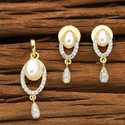 53351 CZ Delicate Pendant Set with 2 tone plating