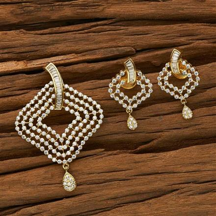 53387 CZ Classic Pendant Set with gold plating
